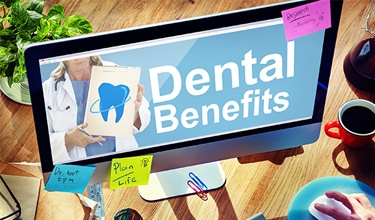 Dental benefits on computer screen